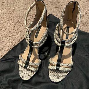 """Rachel Zoe  """"mottled snake"""" Nancy wedge sandal."""